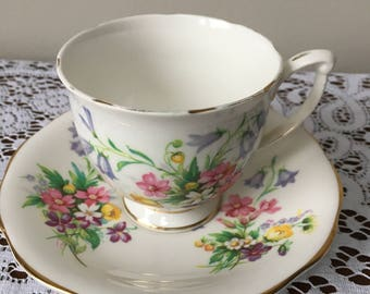 Vintage Queen Anne 'old country spray' teacup and saucer