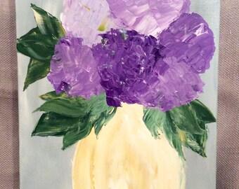 Original Purple Hydrangea Flower Painting