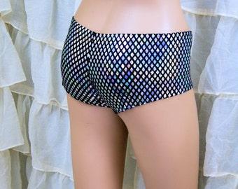 Hologram Silver Diamonds Sequin Boy Shorts Adult XSmall - MTCoffinz - Ready to Ship