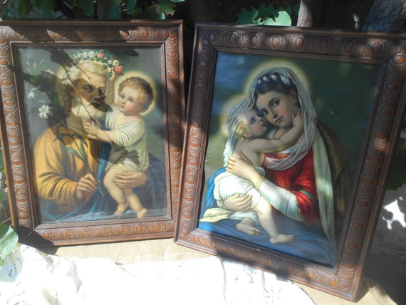 Victorian Religious Chromolithograph Saint Joseph Mother Mary and Jesus Child Carved Wood Framed #sophieladydeparis