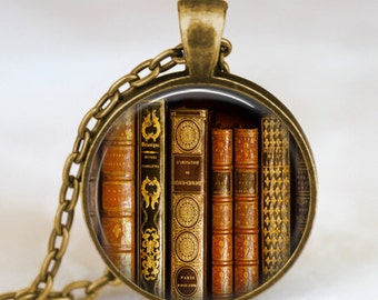 Book jewelry , Book art necklace , Book pendant, teacher  jewelry, librarian jewelry,Bibliophile, book nerd necklace, teacher  necklace,
