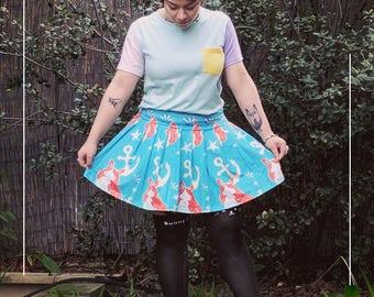 Kawaii Merbunny Pleated Mini Skirt