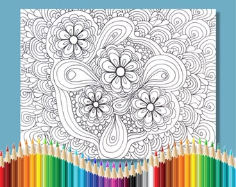 Coloring Pages for Adults Flower Zentangle Instant Download