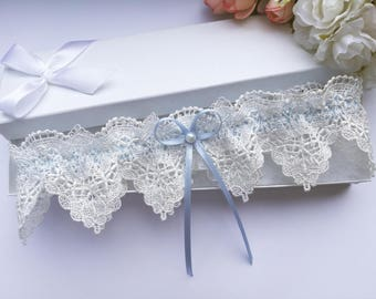 Ivory lace wedding garter, blue wedding garter, venise lace garter, pearl garter, something blue wedding garter, blue bridal garter