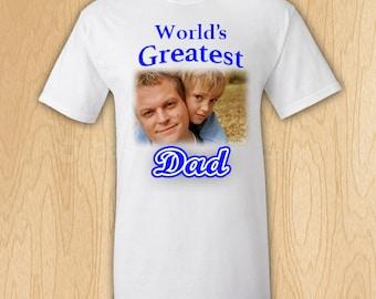 World's Greatest Dad Custom Photo T-Shirt
