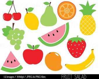 Fruit Clipart Clip Art, Fruit Salad, Watermelon, Pineapple, Apple, Pear, Cherry, Food Clipart - Commercial & Personal - BUY 2 GET 1 FREE!
