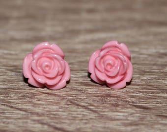 Pink Rose Flower Stud Earrings, Vintage colorful rose petal earrings