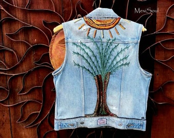 Levi's Denim Distressed Up*Cycled Hand Embroidered Vest, Wearable Art, Bohemian, OOAK, MexiSoul Design, Tree of Life, Hand Embroidered