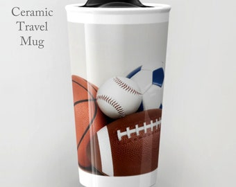 Sports Travel Mug-Ceramic Travel Mug-Ceramic Mug-12 oz Tumbler-To Go Mug-Sports Coffee Mug-Insulated Travel Mug-Personalized Mug
