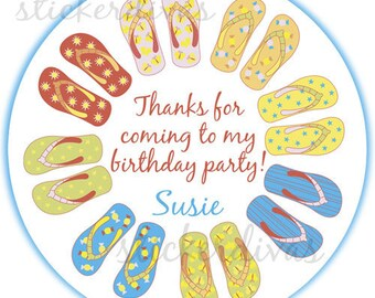 Personalized Birthday Flip Flops Design Round Glossy Labels for Party Favors, Gift Bags, Envelope Seals, Address Labels - Set of 100