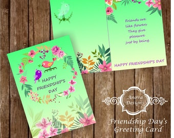 Floral Friendship day card/smart, trendy, cute gift idea