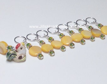 Chicken Stitch Marker Set - Yellow Knitting Marker - SNAG FREE Gift For Knitters - Farm Animal