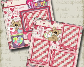 LITTLE SQUEAKHEARTS  - 2 Premade Scrapbook Pages - EZ Layout 63