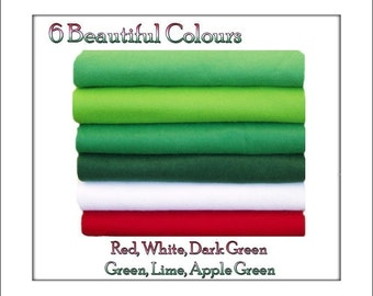 Felt Fabric Chemical Free Squares, Green/Red Shades 12 squares