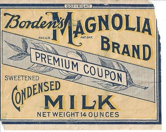 Borden's Magnolia Brand Sweetened Condensed Milk Vintage Premium Coupon, C