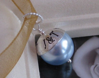 SOMETHING BLUE- Hand stamped wedding, bouquet charm, fits large hole charm bracelets