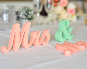 Peach and Mint  mr. . mrs.. sign set.  Wedding sign set. Sweetheart table decor wooden signs.