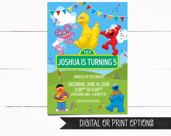 Sesame Street Invitation, Elmo Invitation, Elmo Birthday Invitation