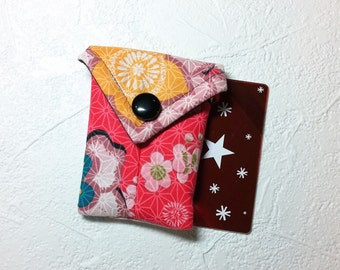 Cute, Brightly Colored Floral Fabric Business Card Pouch / Credit Card Pouch / Gift Card Holder