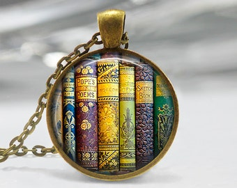 Vintage Book Art Pendant, Library Book Pendant, Old Books Pendant, Bronze, Silver, Library Book Necklace, Teacher Gift, Silver, Bronze, 171