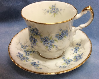 Paragon Remember Me Tea Cup and Saucer Blue Forget me nots