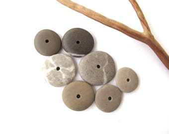 Beach Stone Donut Beads Centre Drilled Rocks Mediterranean Pebble Beads Diy Jewelry River Stone Cairn COOL WHEELS 19-28 mm