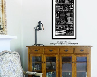 Bar Rules typography graphic art giclee signed print by stephen fowler unframed