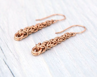 Graduated Bronze Byzantine Earrings with Handmade Ear Wires Womens