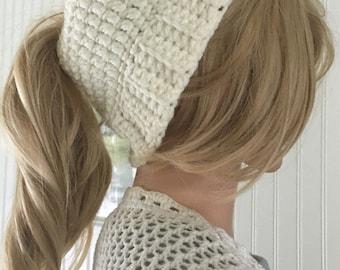 ponytail hat - messy bun hat - crochet bun hat - messy bun beanie - ponytail beanie - winter accessory - long hair hat - bad hair day hat