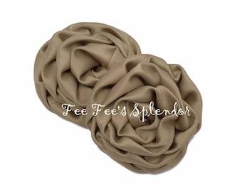 "3"" Satin Rosette - Khaki - DIY  fabric flower - headband supply"