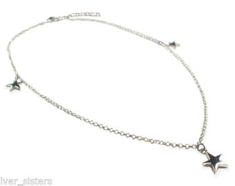 Sterling Silver 3 star neacklace , 3 stars on a chain