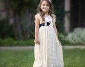 Navy Blue Flower Girl Dress, Flower Girl Dresses, Lace Girl Dress, Rustic Ivory Lace Flower Girl,Country Lace Flower Girl Dress toddler baby