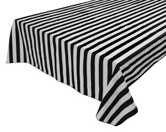 Superieur Cotton Table Cloth Stripes / Lines 1 Inch Stripes Black White