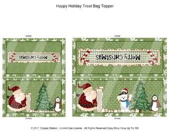 Digital Printable Bag Topper Merry Christmas Theme