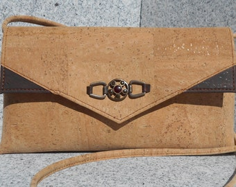 All Cork purse/clutch/handbag/crossbody bag with front detail