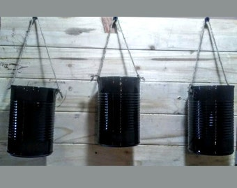 14.5 oz Tin Can Hanging Planters - 3 Planters Per Order