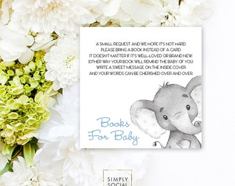 INSTANT DOWNLOAD Elephant Baby Shower Bring a Book Instead of a Card insert Blue Boho Elephant Jungle Watercolor Calligraphy PRINTABLE