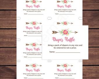 Boho Diaper Raffle Tickets, Baby Shower Diaper Raffle Insert Card, Floral Deer Antler Instant Download  Printable235