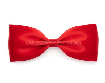 Red Satin Bow, 5 Inch Hair Bow, Bow Tie Hair Bow, Classic Bow for Women and Girls, Satin Hair Bow, Red Bow for Girls, Red Hair Bow