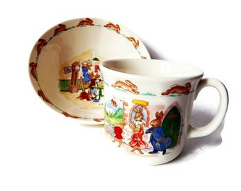Vintage Bunnikins Bowl and Mug/ Baby Dish and Cup/Royal Doulton Bunnikin Dishes/ Children's Easter Bunny