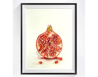 Pomegranate Art Print, Kitchen Art Print, Watercolor print, Pomegranate Illustration, Fruit art, Pop art, Still life, LaBerge Easter Sale