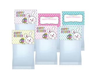 Easter Bunny Treat Bag Toppers Printable  Digital file