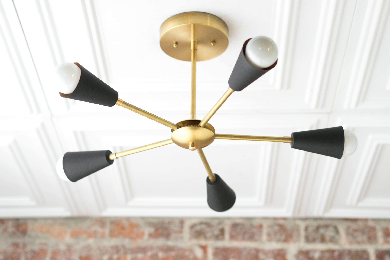 Gold Sputnik Light Geometric Chandelier Semi Flush