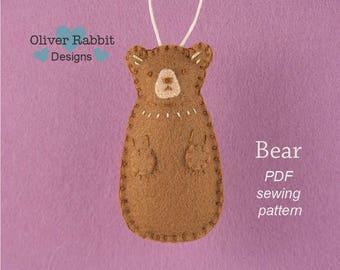 Bear PATTERN, Felt Bear Sewing Pattern, Teddy Bear, Baby Shower Gift, Forest Friend, Gift Topper, DIY Handmade Gift, Baby Nursery