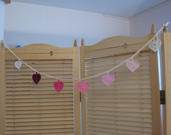 knitted heart shaped flags chain banner, knitted garland in pink shades