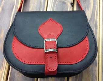 Small Leather Black Red Messenger Bag, Leather Handbag, Leather Bag, Small Everyday Purse,Womens Small Leather Crossbody Bag
