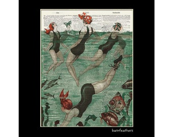 Women Swimming in Ocean - Dictionary Art Print - Vintage Illustration - Book Page Art Print No. P367