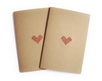 Cross stitch Heart Notebooks. Set of 2 Hand stitched A5 notebooks