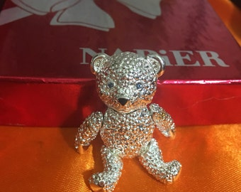 Vintage Napier moving Teddy Bear Brooch Silver Color