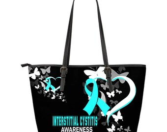 Interstitial Cystitis Awareness Leather Tote Bag